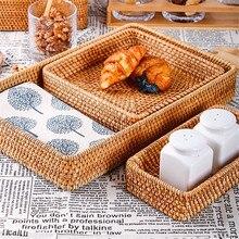 Hand-Woven Storage Basket Rattan Storage Tray Wicker Baskets Bread Fruit Food Breakfast Display Box Handicrafts Home Decoration