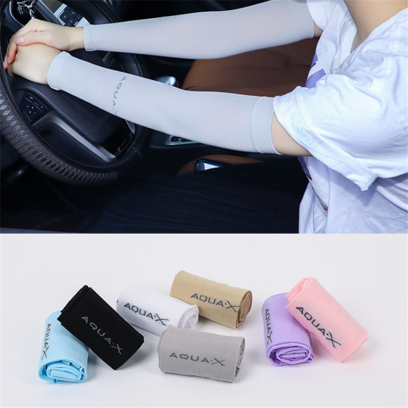 1 Pair Long Gloves Scar Cover Arm Sleeves Ice Silk Sunscreen Arm Sleeves Sun UV Protection Arm Warmer Half Finger Sleeves
