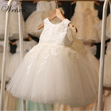 Kids Wedding Gowns Baby Girls White Tulle Lace High Waist Princess Party Dress Teen Elegant Dresses Clothes For Girl 12M-8 Years