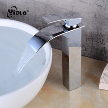 Waterfall Bathroom Faucet Washbasin Faucet Brass Deck Mount Vanity Vessel Sinks Mixer Tap Cold And Hot Water Tap A3