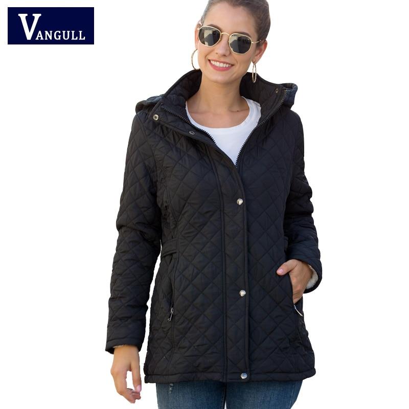 Vangull Winter Cotton Long Parkas Basic Jackets Female Women Winter Plus Velvet Lamb Hooded Coats Autumn 2019 New Jacket Outwear