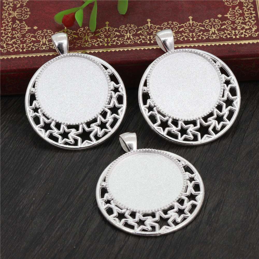 High Quality 5pcs 25mm Inner Size Silver Plated  Cameo Base Setting Stars Style Pendant (A6-39)