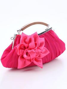 Clutch Purse Flower Handbag Fabirc Cotton Women Lady Top-Handle Silk Wedding Party Girl