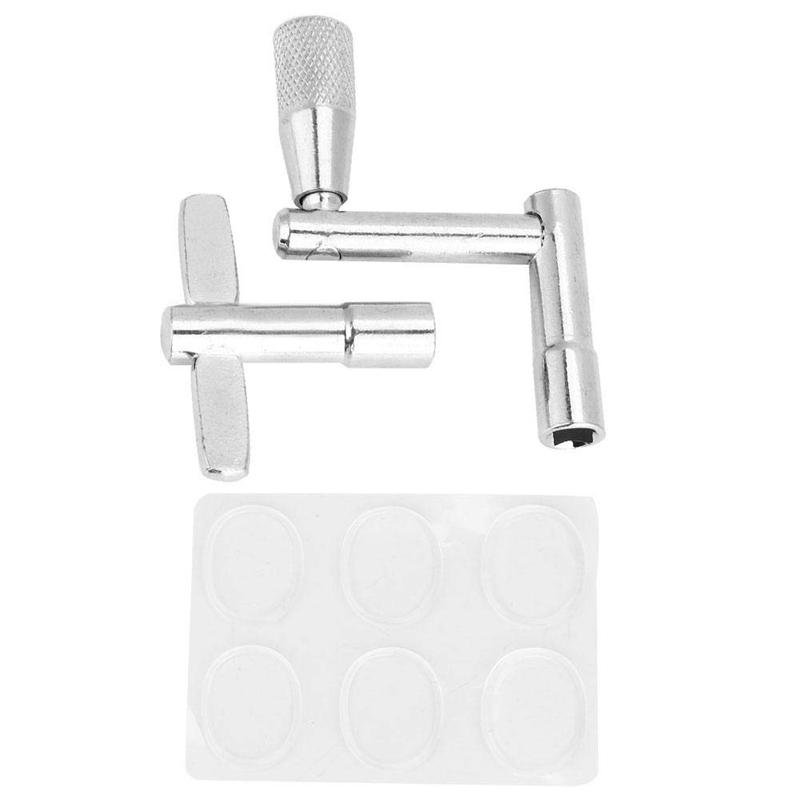 Three-Piece Set Drum Tool, 6Pcs Transparent Silicone Drum Mute Pad, Key Drum Wrench And Z-Shaped Drum Wrench