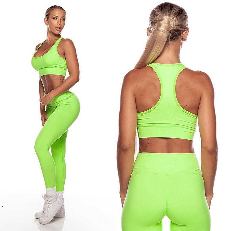 Sport anzug frauen Neon U Hals Hohe Taille Yoga Sport-Bh Leggings Set Trainingsanzug Solide Yoga Set Sportswear für frauen gym Kleidung