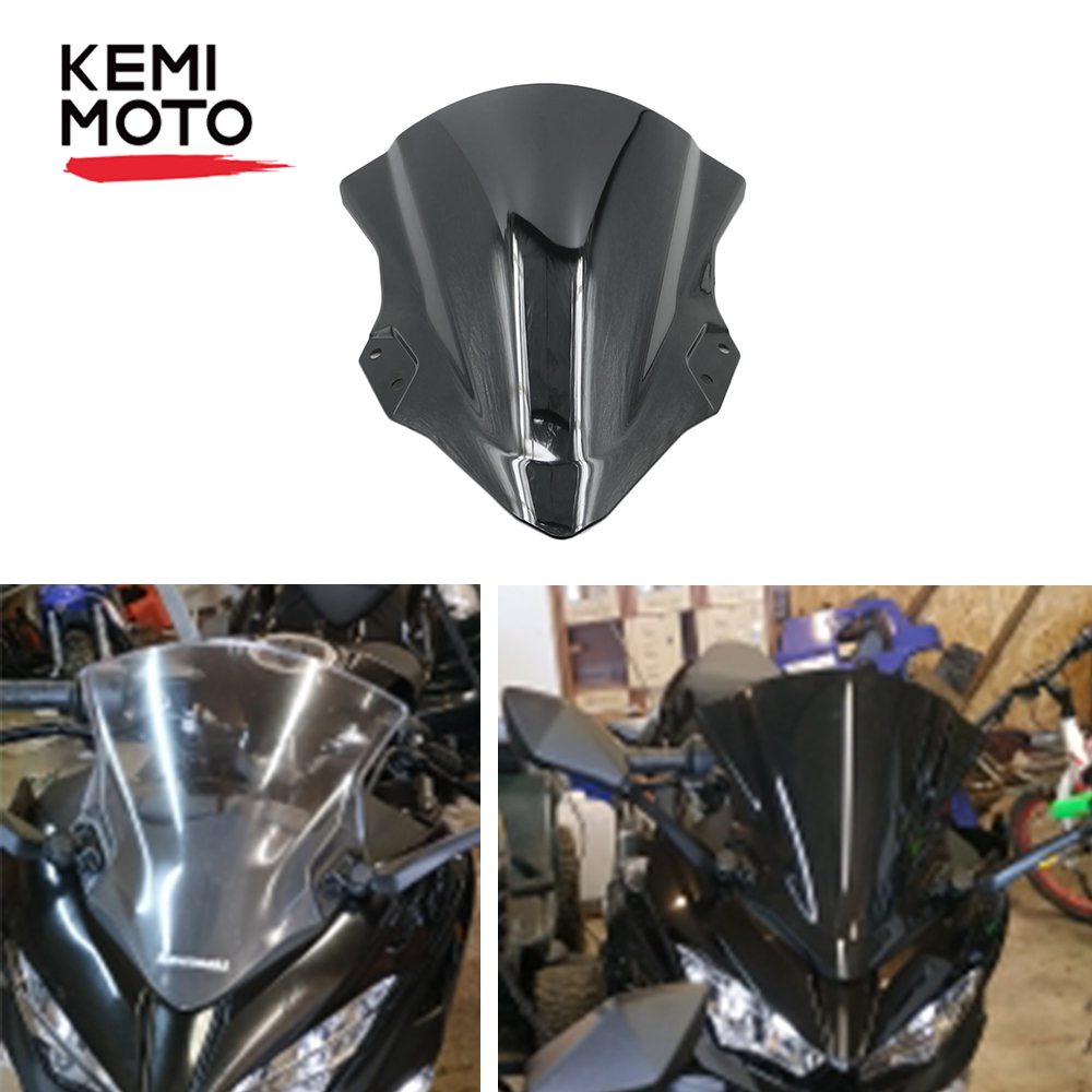 KEMIMOTO <font><b>Windscreen</b></font> For Kawasaki <font><b>Ninja</b></font> 250 <font><b>400</b></font> Ninja250 Ninja400 2018 Motorcycle Windshield Wind Deflector Wind screen shield image