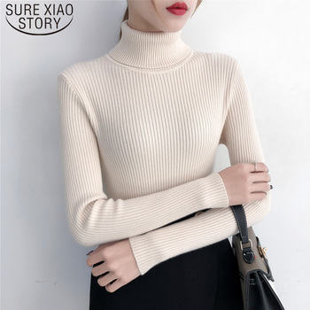 Turtleneck Sweaters Fashion 2019 Autumn Winter Clothes Women Solid Women Knit Sweater Women Sweaters and Pullovers 6047 50
