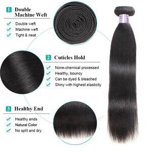 Image 2 - Fasci di capelli lisci brasiliani Allove con fasci di capelli umani frontali al 100% con chiusura capelli Non Remy 3 fasci con chiusura