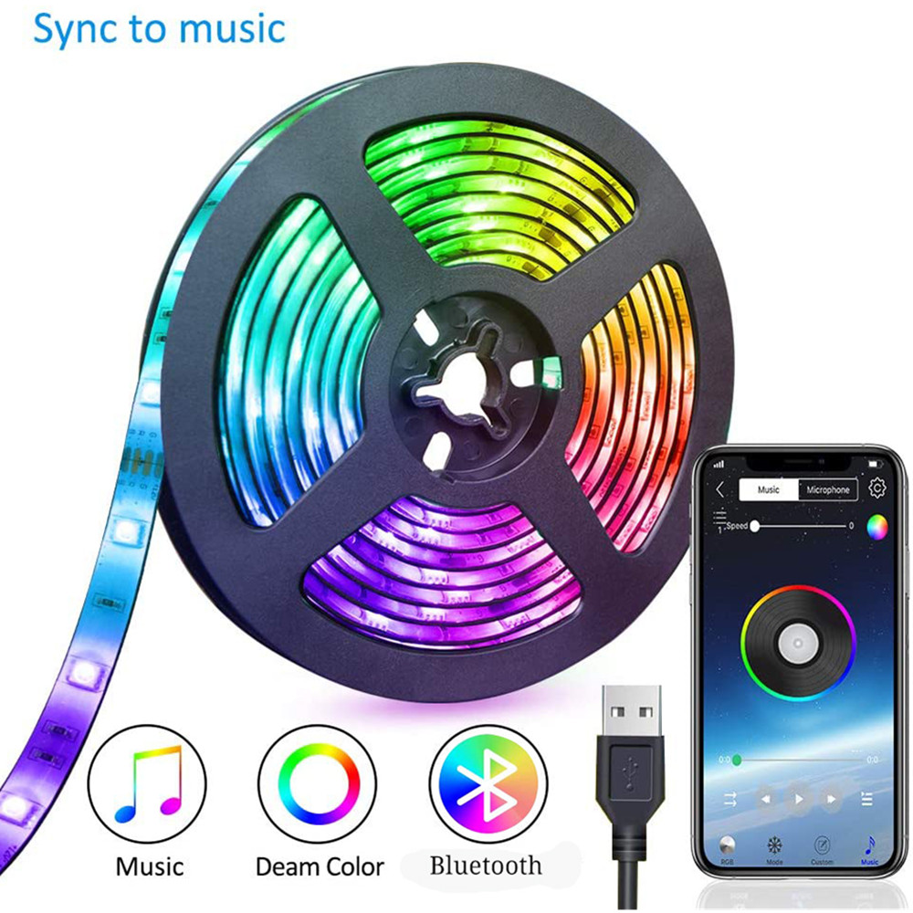 TV USB Led Strip Light RGB LED Light Strip Bluetooth 5050SMD Ribbon Flexible 1M 2M 3M DC 5V Diode Tape Music Decorative Lamp