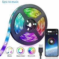 TV tira de luz Led USB RGB luz LED tira de luz Bluetooth 5050SMD cinta Flexible de 1M 2M 3M DC 5V de cinta de música Lámpara decorativa