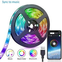 Bande lumineuse RGB bande Led USB pour TV, Bluetooth, 5050SMD, ruban avec lumière décorative, Flexible, 1M 2M 3M DC 5V, ruban avec diodes, musique
