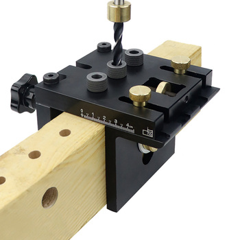 3 in 1 Woodworking Doweling Jig Kit with Positioning Clip Adjustable Drilling Guide Puncher Locator Carpentry Tools woodworking tools miter gauge and box joint jig kit with adjustable flip stop woodworking diy tools jf1171