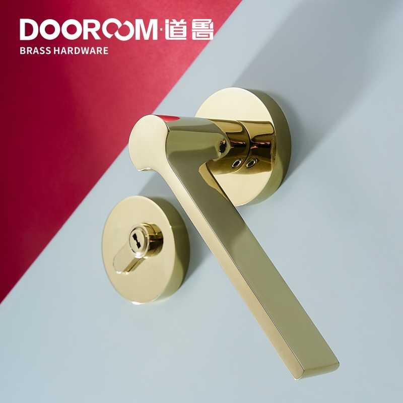 Dooroom латунный дверной рычаг бесшумный блестящий современный светильник роскошный скандинавский двойной деревянный дверной замок для спальни ванной комнаты