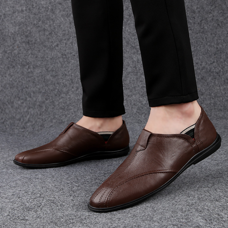 Casual Loafers Moccasins Driving-Shoes Men's Genuine-Leather Fashion Flats Comfortable title=