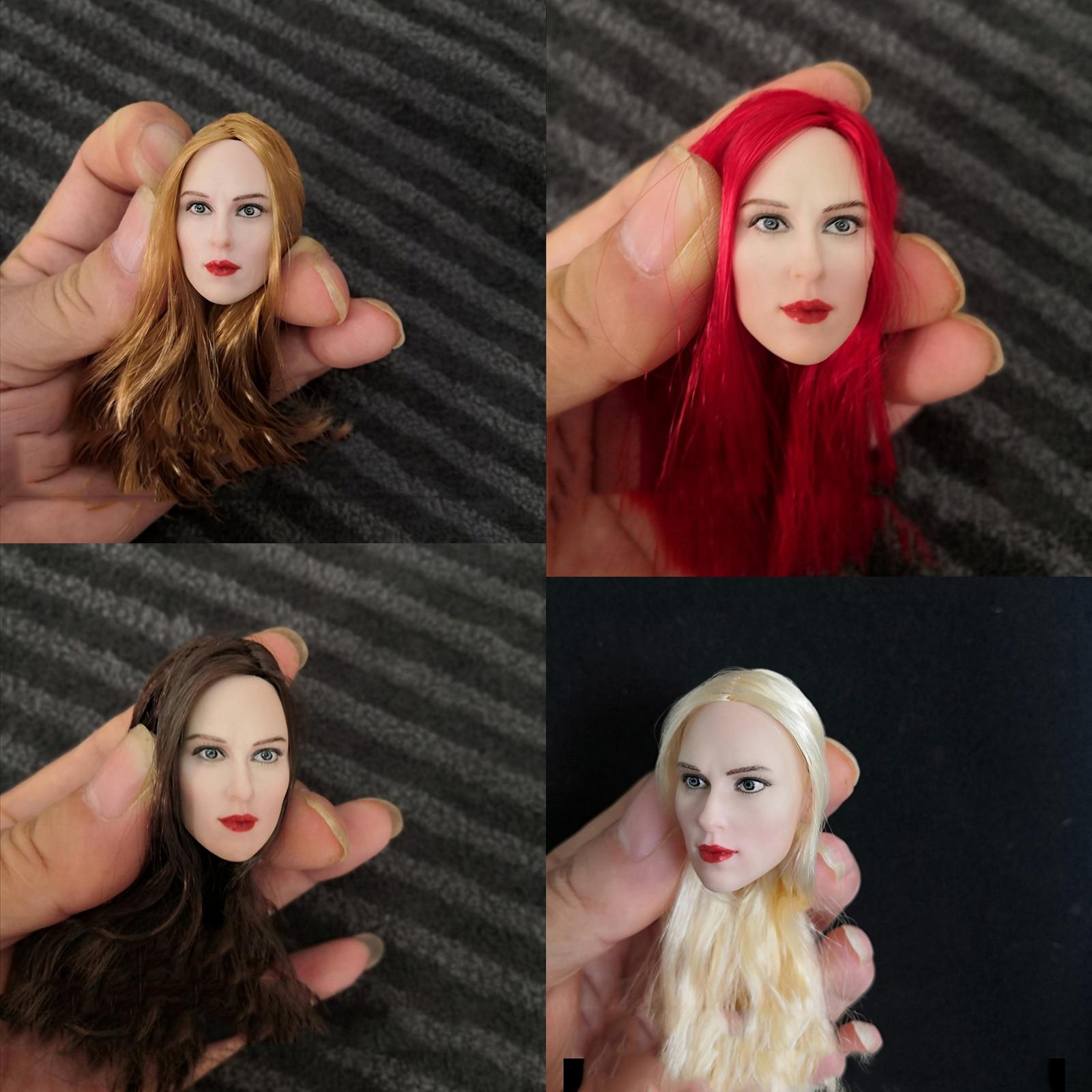 1/6 Scarlett Johansson 4,0 головы лепить Шоколадный Желтый Красный блондин волосы для 12 бледные тела