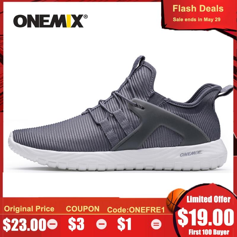 ONEMIX 2020 Men Running Shoes Women Sneakers Lightweight Breathable Mesh Soft Slip On Outdoor Jogging Walking Tennis Sport Shoes