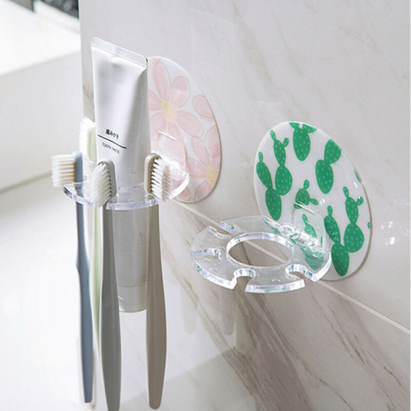 2019 New Home Bathroom Easy Toothbrush Suction Holder Rack Wall Mount Hang Stand Toothpaste Holders image