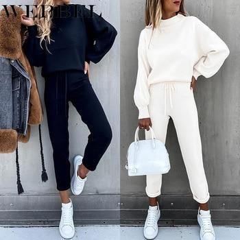 WEPBEL Autumn Winter Fashion Solid Color Sports Suit Women's Casual Long Sleeve O-Neck Sweatshirt + Lace-up Pencil Pants Suit