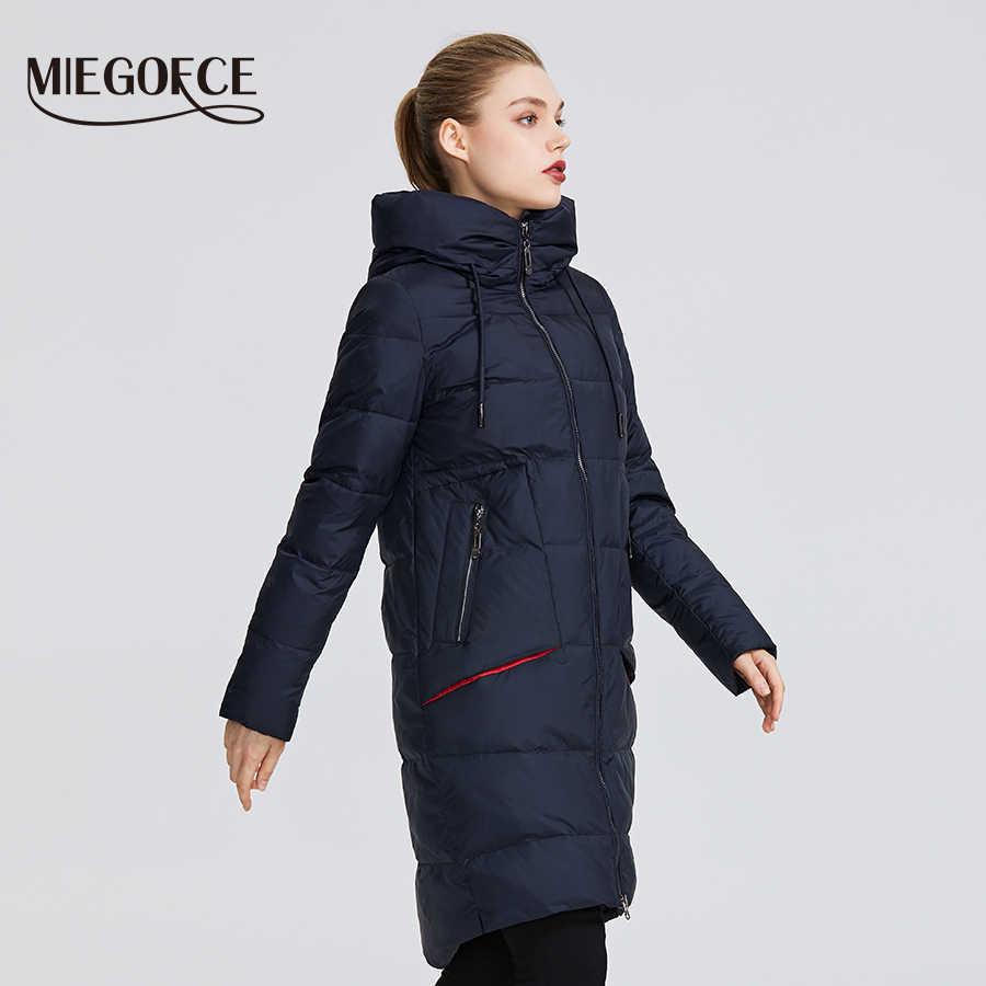 MIEGOFCE 2019 nueva colección de abrigo de invierno para mujer Parka a la rodilla chaqueta de mujer a prueba de viento con cuello y capucha