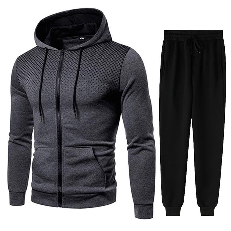 Men Gradient Zip Cardigan Suit Tracksuits Spring Autumn Hoodie Jogging Trousers Fitness Casual Clothing Sportswear Set Plus Size 6