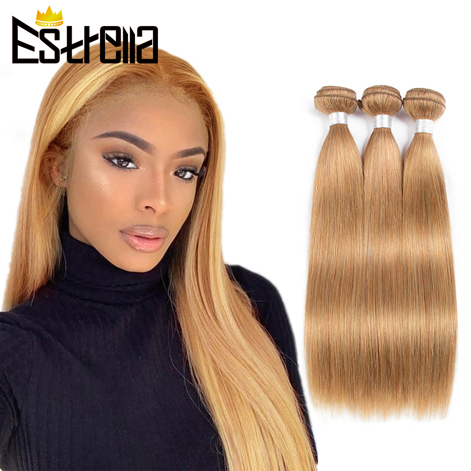 Peruvian Human Hair Weave Bundles Honey Bundles Blonde Straight Human Hair Extensions 27 Color Estrella Remy 100% Human Hair