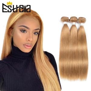 Перуанские натуральные кудрявые пучки волос Мёд пучки волос светлые прямые Пряди человеческих волос для наращивания 27 Цвет Estrella Реми 100% че...