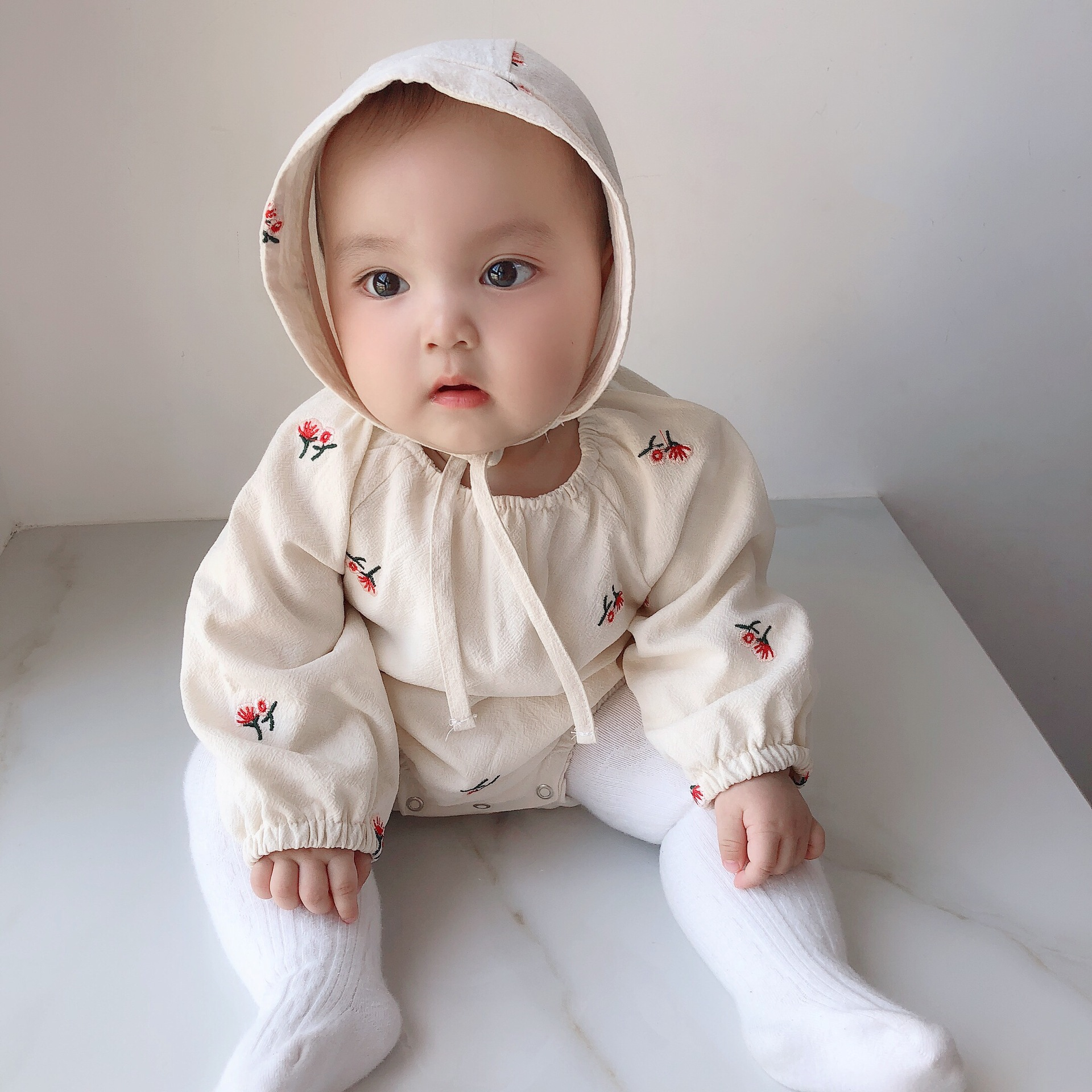 MILANCEL  Spring Baby Clothing Embroidery Toddler Girls Bodysuits Baby One Piece With Hat