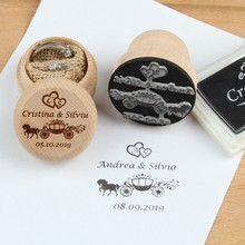 Diameter 4.5cm stamp 5cm ring box Personalized names date Custom logo Stamp rustic Engagement Party & Wedding Decoration(China)