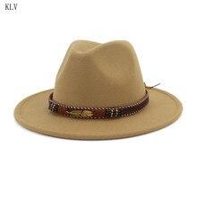 Men Women Vintage Ethnic Felt Shallow Fedoras Hat With Woven Belt Buckle Sunscre
