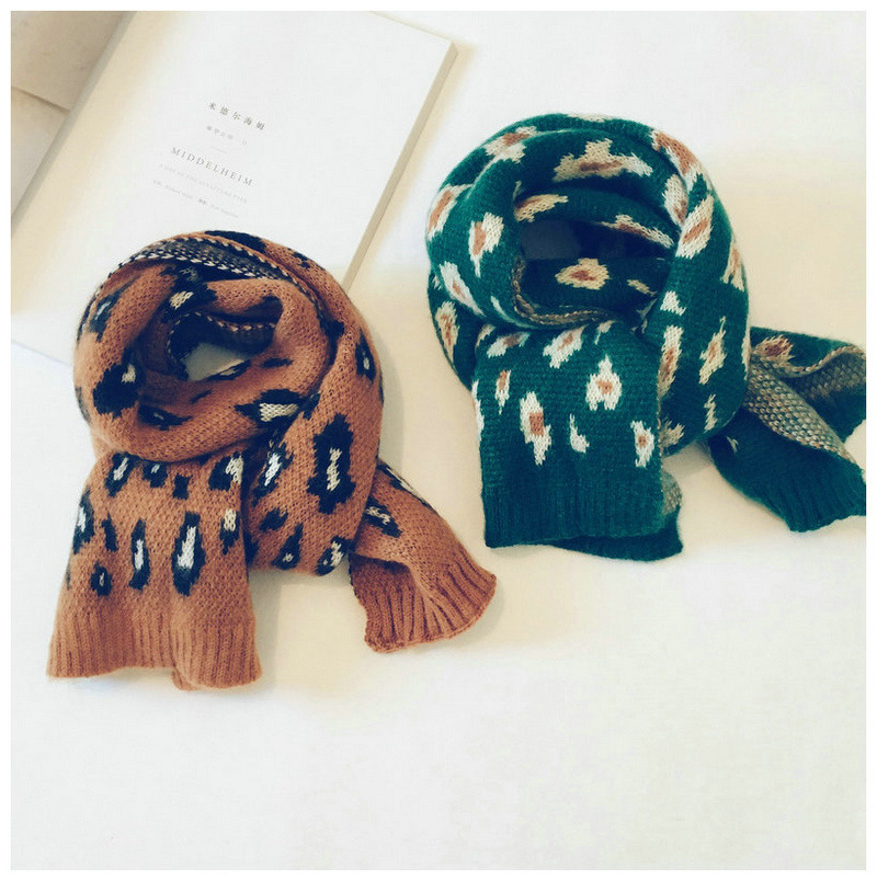 Korean Wool Leopard Tassel Girl Scarf Pattern Wool Shawls Soft Warm Autumn Winter Thick Children Boys Wraps Scarves Accessories in Scarves from Mother Kids