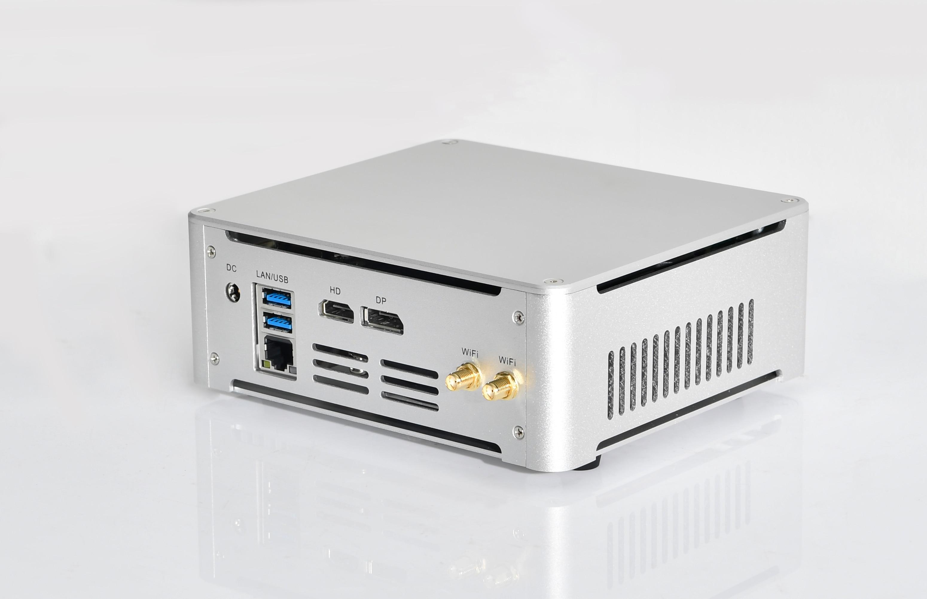 NC410 7th Gen FAN Mini PC Intel Quad Core I7 7820HK I5 7300HK DP HDMI LAN Windows 10 Pro Mini Desktop Computer