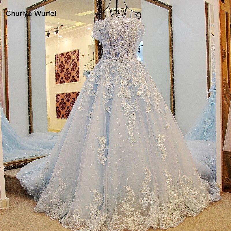 LS98850 New Short Sleeve Organza Prom Dresses Blue Long Pageant Dress Vestidos De Fiesta A-line Dress For 15 Years Cheap Dresses