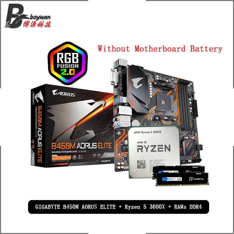 AMD Ryzen 5 R5 3600X CPU + GA B450M AORUS ELITE Motherboard + Pumeitou DDR4 8G 16G 2666MHz RAMs Suit  Socket AM4 Without cooler