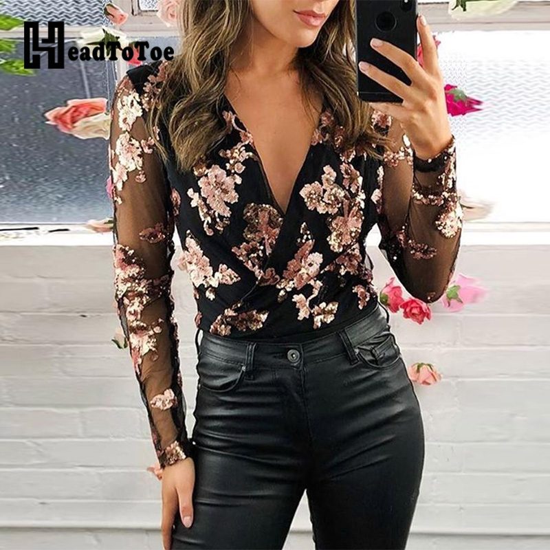 Sexy V Neck Floral Mesh Sleeve Top Women Elegant Long Sleeve Blouse Workwear Casual Tops