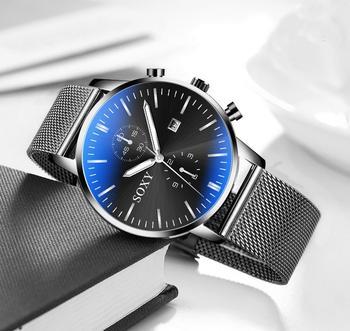 Fashion Gold Black Mesh Steel Minimalist Male Quartz Watch