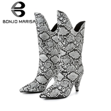 BONJOMARISA New 34-43 Brand Design mid-calf Western Boots Women 2019 Autumn Winter Pointed Toe High Heels Shoes Woman