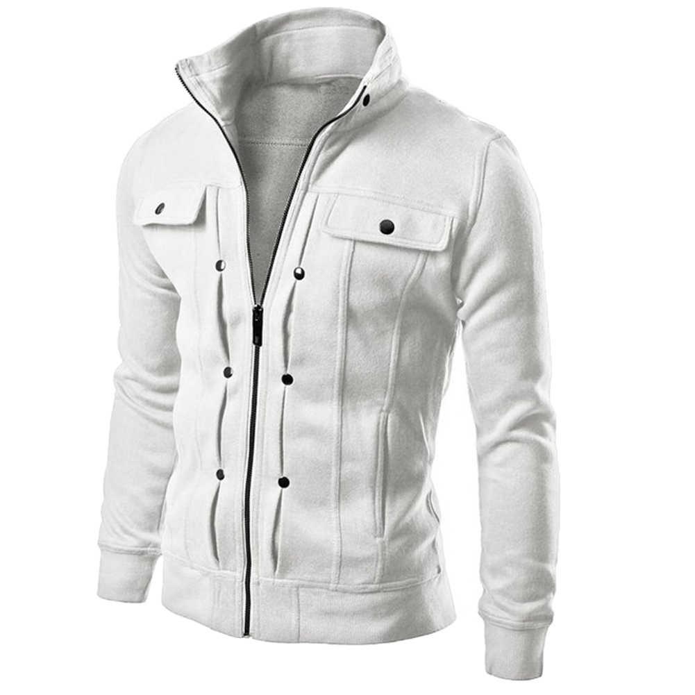 Meihuida 가을 남성 캐주얼 솔리드 지퍼 업 따뜻한 포켓 코튼 통기성 까마귀 후드 티 스웨터 자켓 코트 탑 탑스