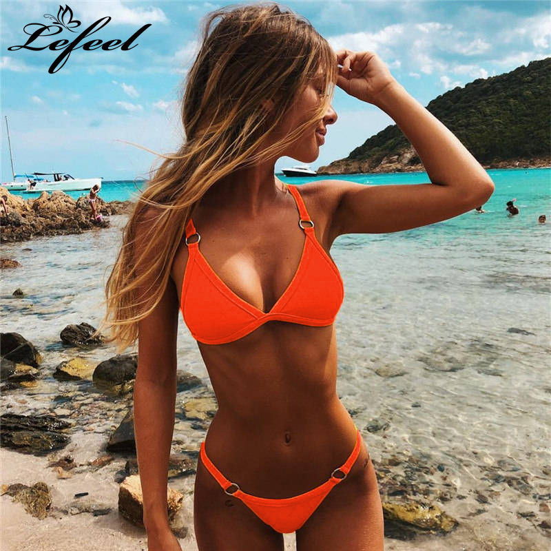Women Solid Bikini Set Sexy Brazilian Biknis Low Waist Bathing Suit Swimsuit Ring Patchwork Swimwear Female Beachwear Biquini