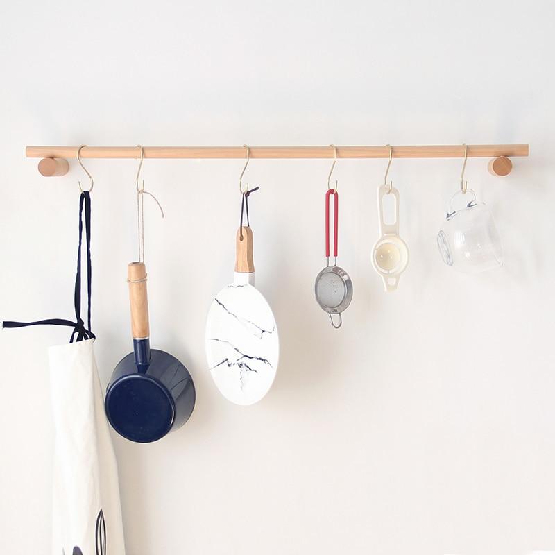 Современный ванная комната дерево полотенце вешалка +кухня органайзер полка стенка полотенце штанга многофункциональный вешалка