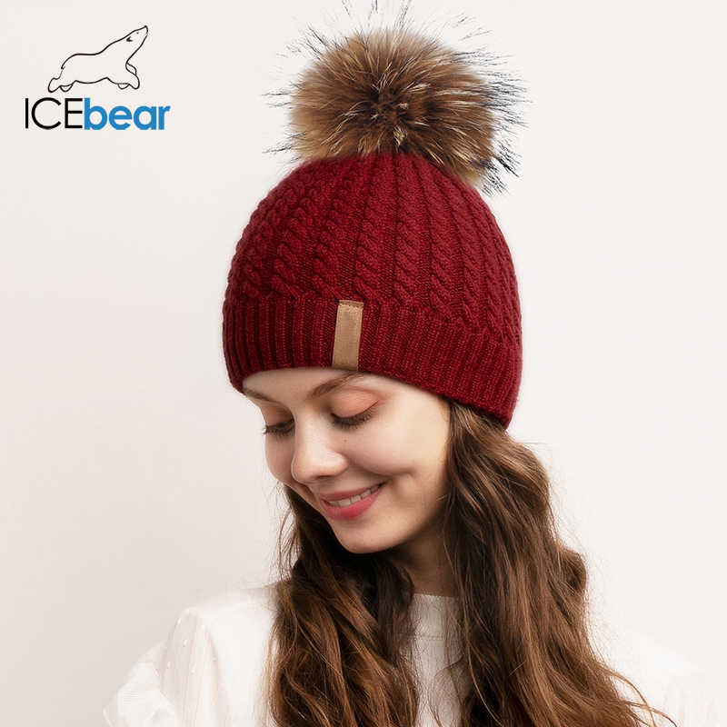 ICEbear المرأة قبعة صغيرة الشتاء القبعات محبوك بوم بوم قبعة الإناث الشتاء كاب FX-HTWL002