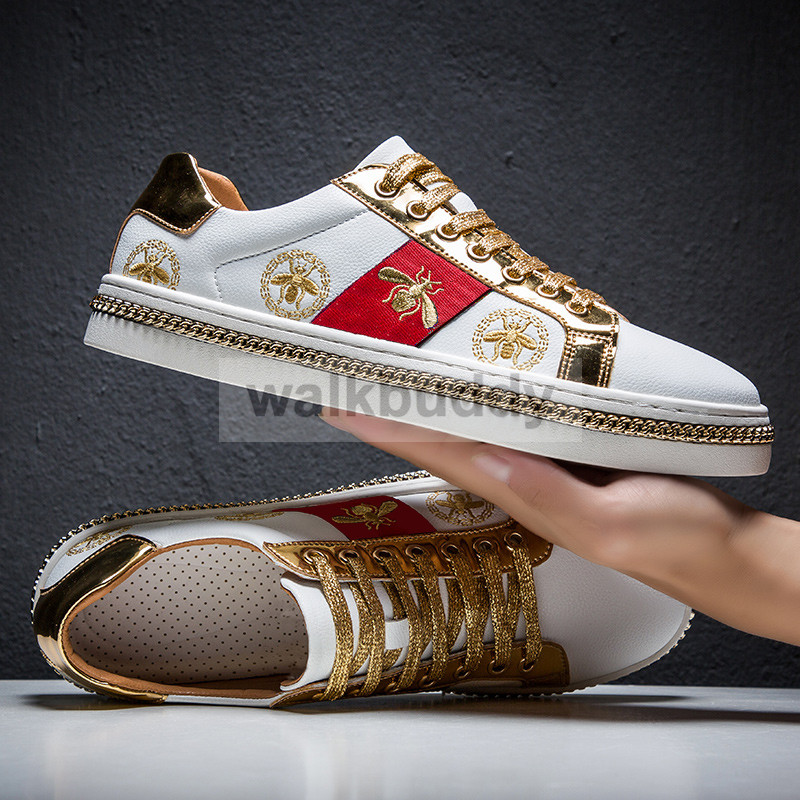 Men's Casual Shoes Men White Sneakers Microfiber Leather Golden Designer Luxury Bee Embroidery Breathable Shoes