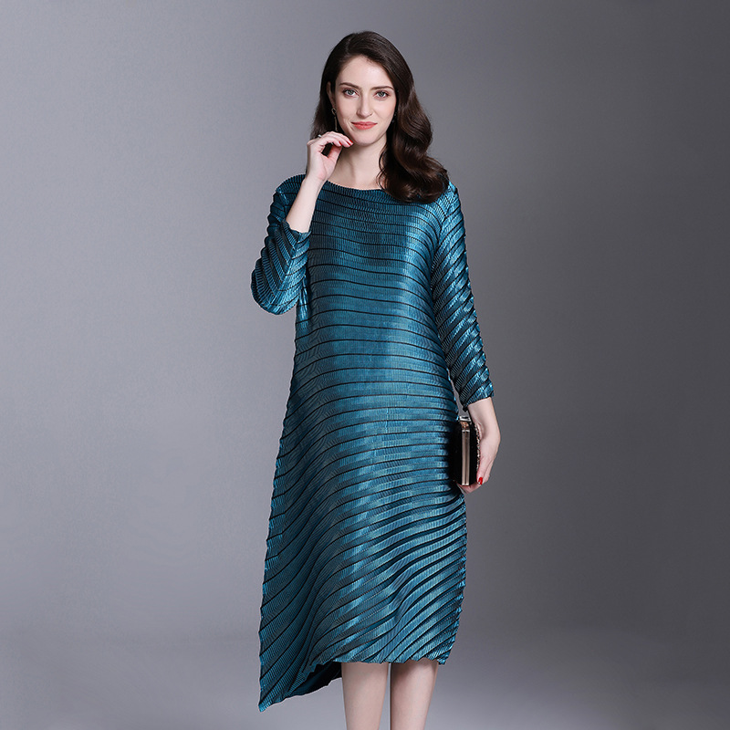 LANMREM Office Lady High-end Temperament Solid Full Sleeve Plus Size Sexy Women Pleated Dress 2020 Autunmn New Dresses AI951 2