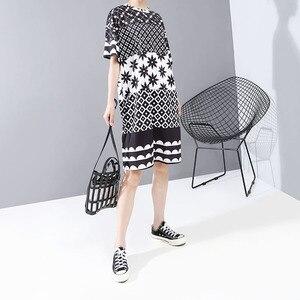 Image 3 - Neue Frauen Plus Größe 2020 Multicolor Gedruckt Midi Kleid Geometrische Muster Damen Stilvolle Lose Gerade Kleid Vestidos 5983
