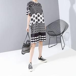 Image 3 - New Women Plus Size 2020 Multicolor Printed Midi Dress Geometrical Patterns Ladies Stylish Loose Straight Dress Vestidos 5983