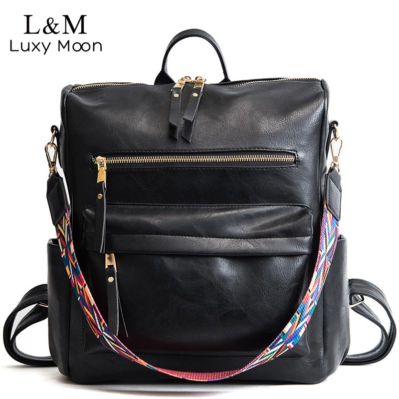 Leather Backpack Women 2020 Students School Bag Large Backpacks Multifunction Travel Bags Mochila Pink Vintage Back Pack XA529H