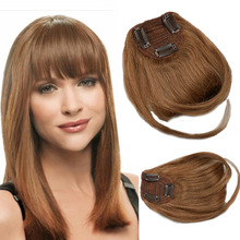 Toysww – Extensions de cheveux naturels Remy avec frange, postiche avec 3 Clips, 25g