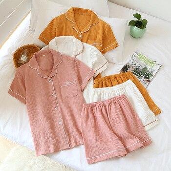 Pijama japonés de verano para parejas, traje de algodón crepé para mujeres, camisa de manga corta de color sólido, Pijamas cortos, servicio doméstico para hombres