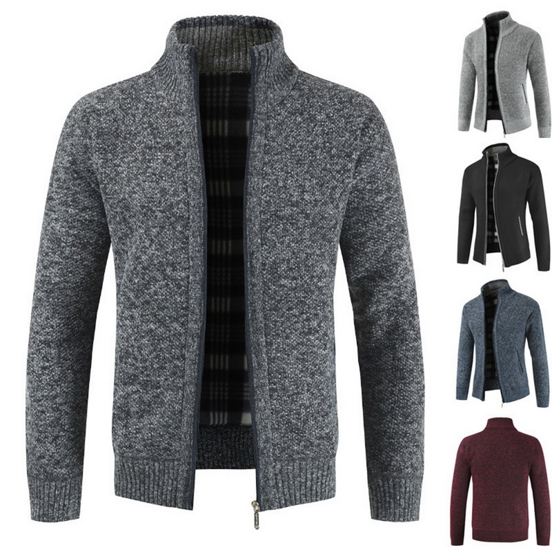 Oeak Men's Casual Slim Full Zip Thick Knitted Cardigan Sweaters With Pockets  2019 New Fashion Men's Classic Zip Coat