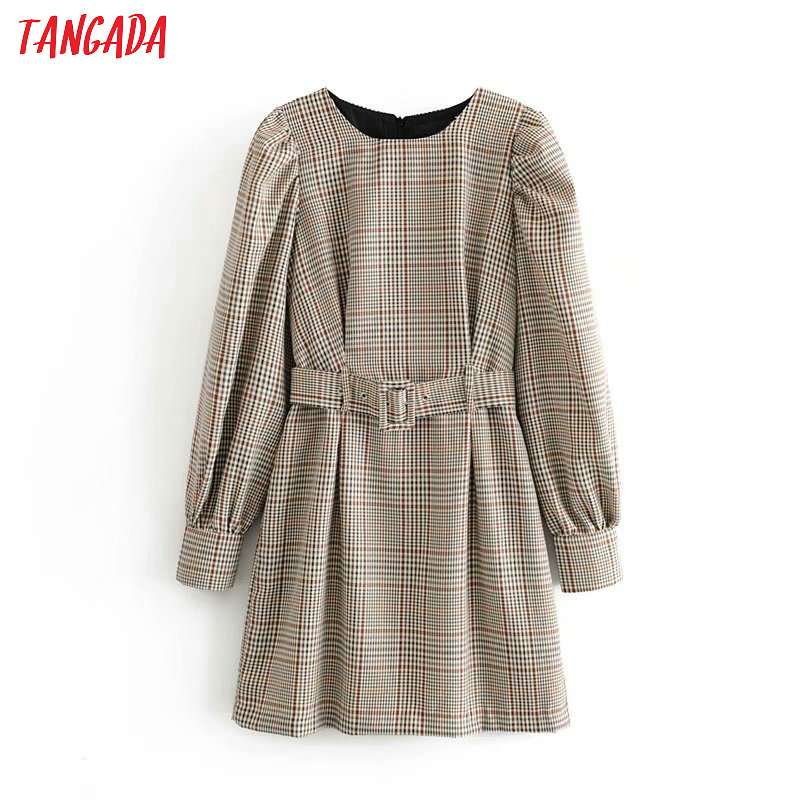 Tangada England fashion women plaid pattern dress with belt o neck Long Sleeve Ladies mini Dress Vestidos 6P17