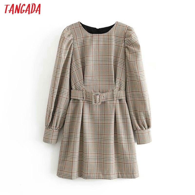 Tangada England Fashion Women Plaid Pattern Dress With Belt O Neck Long Sleeve Ladies Mini Dress Vestidos 6P17